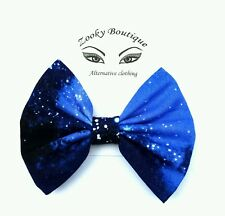 """4"""" Blue White stars cosmos galaxy space hair bow clip slide accessory. gift"""