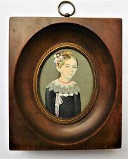 NO RESERVE SIGNED Dated 1821 Georgian Portrait Miniature of Girl Vintage Antique