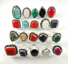 20 PCs Lot Moonstone,Opal,Sapphire & Mix Gemstone Silver Plated Rings Jewelry