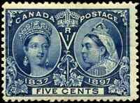 Canada #54 mint F OG HHR 1897 Queen Victoria 5c deep blue Diamond Jubilee