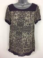 WOMENS MONSOON PURPLE BOAT NECK SHORT SLEEVE SUMMER SMART FLORAL BLOUSE SMALL