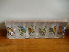 More details for vintage french vmc reims water glasses with pretty bird transfers x 6 boxed