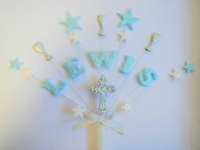 Personlised First Communion or Christening cake topper with cross and chalices