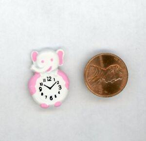 "Miniature Dollhouse White Elephant Clock w/ Pink Trim Flat Back 1"" H"