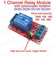 DC 5V 9V 12V 24V Optocoupler isolation H/L Level Trigger 1-Channel Relay Module