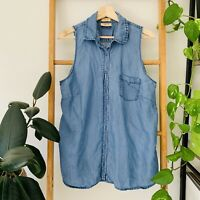 RM Williams Semi Fitted Womens Blue Sleeveless Button Up Blouse Top Size 14