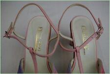 Sandali FEELING Pelle e Tela Rosa Malva T 35 ottima qualità