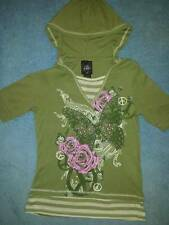 New/NWT Self Esteem Girls Butterfly Mock-Layer Graphic Hooded Tee, Size Large