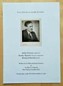Walter de la Mare In Song programme St Olave's Church 19th Nov 2008 Adele Paxton