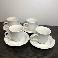 Mikasa French Countryside White F9000 Japan Set of 4 Coffee Tea Cups & Saucers
