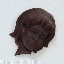 seltene Achatit Wandmaske Wandbild Frauenkopf Skulptur Handarbeit Retro 50er J.