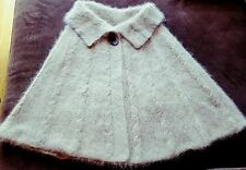 hand-knitted long hair Angora Goats cashmere cape/poncho(beige)