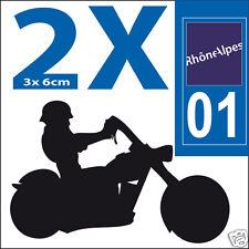 2 stickers autocollants style plaque immatriculation moto Département  01