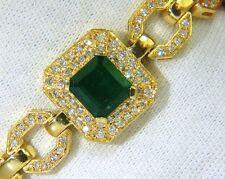 6.25CT NATURAL EMERALD DIAMOND BRACELET 18KT GREEK LINKED DECO+