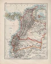 1909 VICTORIAN MAP ~ COLUMBIA ECUADOR & PANAMA INSET GALAPAGOS ISLES