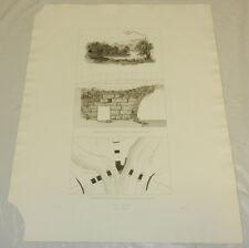 1831 Greek Architecture Print/ANCIENT STONE BRIDGE & LOCATION MAP/PAMISUS,GREECE