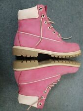 TIMBERLAND PINK WHITE LEATHER WALKING ANKLE BOOTS SIZE 6