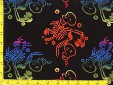 Halloween Neon Colored Skeletons on Black Half Yard CHASKE10060