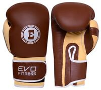 EVO Premium Pure Leather Boxing Gloves MMA Kick Muay Thai Punch Bag Sparring UFC