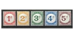 Tristan Da Cunha 1957 Postage Due Set of 5 Stamps SG D1/5 MUH 12-3