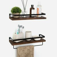 Floating Shelves Wall Mounted Storage Shelves for Kitchen Bathroom Set of 2Brown