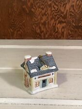 """Hanging Ornament Bell """"The Queens Inn"""" 1991 Cottage House Snow"""