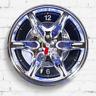 Neon Alloy Rim Wall Clock Blue LED Light Border Car Garage Wheel Motoring Gift