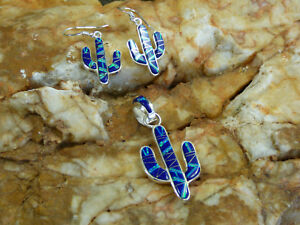 Saguaro Cactus Sterling Silver Blue Lapis Opal Pendant & Earring 3pc set NEW Q
