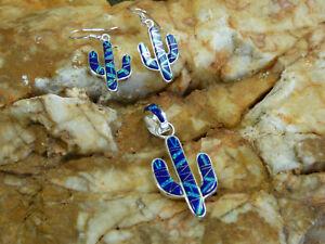 Saguaro Cactus Sterling Silver Blue Lapis Opal Pendant & Earring 3pc set NEW Q