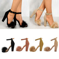 Hot Summer Women Fluffy Fur Ankle Strappy Open Toe Sandal Block High Heels Shoes