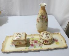 Antique Crown Devon Fieldings Blushware Dresser tray set ETNA WYE 4 pc  ca 1912