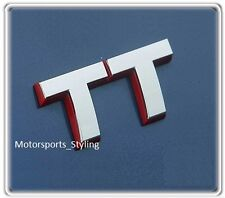 Audi TT Car Badge in Chrome Red Outline Emblem Quattro S line Rear Tailgate (46)