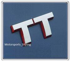 Audi TT Car Badge in Chrome Red Outline Emblem Quattro S line Rear (46)
