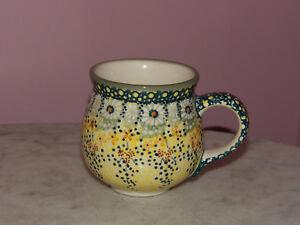 Polish Pottery 10 oz Medium Bubble Mug! UNIKAT Signature Exclusive Miss Daisy!