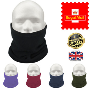 NEW Men's or Women's Thermal Fleece Neck Warmer Drawstring Snood Scarf Ski Hat