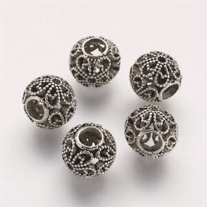 10 Pcs Round Antique Silver Tibetan Style Alloy European Beads 12x10mm Hole 5mm