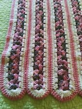 "Hand Crochet Afghan Blanket Throw Rose Pink & White 64 x 42"""