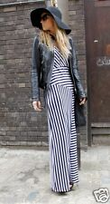 PRIMARK SIZE 12 BLACK STRIPED SUMMER HOLIDAY PARTY MAXI LONG DRESS US 8 EU 40