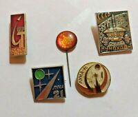 ☭ 5 х Russian Soviet Space cosmonaut  Pins Badge USSR Nice Gagarin SET☭