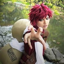Short Straight Gaara Wine Red Anime Party Cosplay Full Wig + Free Wig Cap