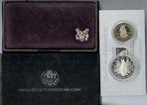 1989 CONGRESSIONAL 2 Coin SILVER Dollar + Clad Half Dollar Proof Congress Set