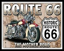 ROUTE 66 AMERICAN HIGHWAY USA BIKER MOTORCYCLE MOTORBIKE METAL PLAQUE SIGN 441