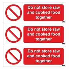 X3 Do Not Store Raw and Cooked Food Together Sign 150mm x 50mm SA