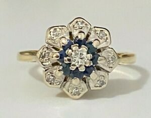 18CT solid gold W/ Diamond & Sapphire Flower ring 3.40g size M -  6