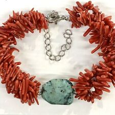 Turquoise Red Coral Branch Bracelet 3 Multi Strand Silver Tone Adjust 8 To 10 In