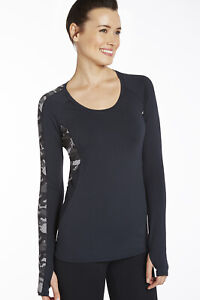 Fabletics berlin top long sleeve black camo camouflage athletic shirt top large