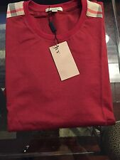 New Burberry Red Patch Shoulder Nova Check Plaid Men T-shirt XXL / XL $225