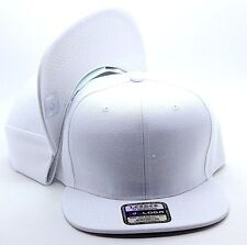 PLAIN SNAPBACK HAT CAP WHITE ADJUSTABLE POLYESTER ONE SIZE FITS ALL