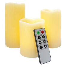 Vanilla Scented Flameless Set 3 Candles Remote Control Led Light Decoration Lumi