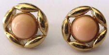 boucles d'oreilles percées bijou vintage couleur or ronde cabochon rose 4444
